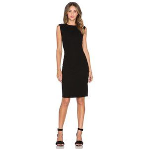 VINCE Black Knit Fitted Pencil Dress midi USA made
